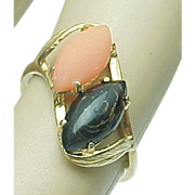 Vintage 14k Yellow Gold Coral & petrified wood Ring