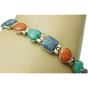 Vintage Sterling Silver, Reversible Multi Color Stone Link Bracelet