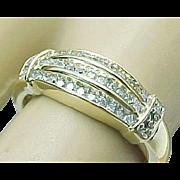 SALE 10K Yellow Gold .25 Carat Three Row Diamond Band
