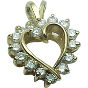 14K Yellow Gold .50 Carat Diamond Heart Pendant