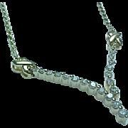 Vintage 14K Yellow Gold V Shape Diamond Necklace .50 Carat Diamonds