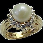 REDUCED Vintage 14K Yellow Gold 7.5 mm Akoya Pearl & Diamond Ring