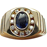 SALE Beautiful Unisex Sapphire & Diamond 14K Yellow Gold Ring