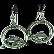 SALE Vintage Sterling Silver Kabana, Dolphin Hoop Pierced Earrings