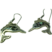 Mexico Sterling Silver Inlaid Abalone Marlin Dangle Earrings