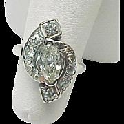 Vintage 14K White Gold 1.00 Carat Marquis & Rose Cut Diamond Ring