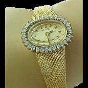 REDUCED Vintage GIRARD-PERREGAUX 14K Gold Manual Wind 1 Carat Diamond Ladies Wrist Watch