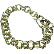 Vintage 12 K Gold Filled Triple Link Charm Bracelet