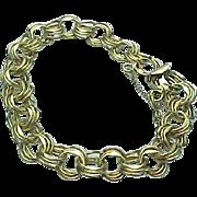 Vintage 12 K Gold Filled Triple Link Charm Bracelet