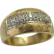 SALE Stunning 14K Yellow Gold, Brushed Hammered Wide Diamond Band