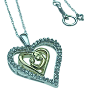 Vintage 10K Two Tone Diamond Heart Necklace With Dangle Mary Center