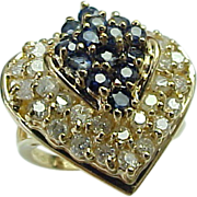 SALE Vintage 14K Yellow Gold Heart Shape Sapphire & Diamond Ring