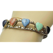 Vintage Sterling Silver Multi Colored Gemstone HEART Cuff