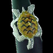 Retired Sterling Silver Kabana, Enameled LARGE Turtle Ring