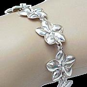 Kabana Sterling Silver, Flower Link Bracelet