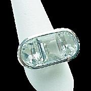14K White Gold Fancy Faceted White Topaz Ring