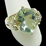 14k Yellow Gold 6.50 Carat Prasiolite Blue & White Topaz Ring