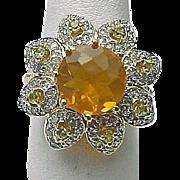 14K Yellow Gold 4.5 Carat Fire Opal, Peridot & Diamond Flower Ring ~ Circa 1995