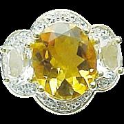 10K Yellow Gold 4.20 Carat Citrine/Topaz & Diamond Ring