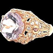 14K Rose Gold 5.00 Carat Amethyst, White Topaz & Pink Sapphire Flower Ring
