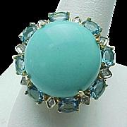 10K Yellow Gold Sleeping Beauty Turquoise / Topaz, Diamond Ring