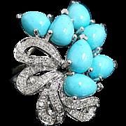SALE 14K White Gold Elongated Persian Turquoise & Diamond Ring ~ Circa 1995