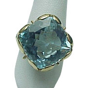 14K Yellow Gold Aqua & White Topaz Ring ~ Circa 1995