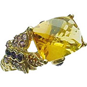 14K Yellow Gold 5.00 Carat Citrine & Amethyst Butterfly Ring
