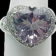14K White Gold 5.00 Carat Pink Heart Amethyst Ring