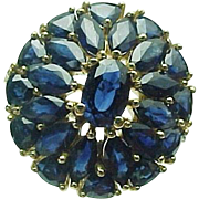 10k Yellow Gold 4.00 Carat Blue Sapphire Cluster Ring