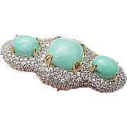 Sterling Silver / Vermeil Double Finger Turquoise & White Topaz Ring