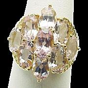 14k Yellow Gold 5.40 Carat Pink Sapphire Cocktail Ring ~ Circa 1995