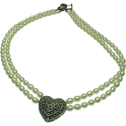 Vintage Double Strand Fresh Water Pearl & Marcasite Heart Necklace