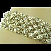Hand Crafted Sterling Silver Flower Design Mesh Wide Bracelet