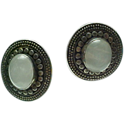 Vintage Sterling Silver, Moon Stone Pierced Post Earrings