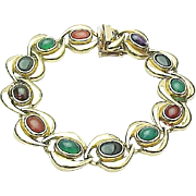 Beautiful 14K Yellow Gold Multi Colored Gemstone Bracelet