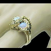 SALE Organic Modernist 14k Yellow Gold Nugget Opal Ring Circa 1950's