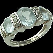 Vintage 14 K White Gold Oval Blue Topaz & Diamond Ring 1.60 CTW