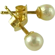Vintage 14K Yellow Gold Pierced Post Akoya Cultured Pearl Earrings