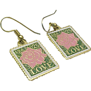 Gold Tone LOVE Postage Stamp Pierced Wire Dangle Earrings