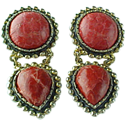 Hand Made Cracked Red Dyed Snake Skin Clip On Earrings