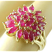 SALE Vintage 3 Carat Marquis and Round Ruby Cluster Ring