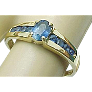 14K Yellow Gold Blue Sapphire Ring