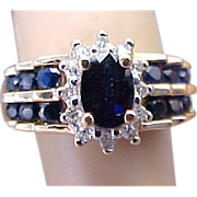 SALE 14K Yellow Gold Sapphire & Diamond Ring