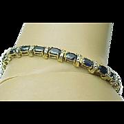 10K Yellow Gold 12 Carat Blue Sapphire & Diamond Bracelet