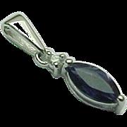 14K White Gold .55 Carat Marquis Sapphire & Diamond Pendant