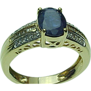 SALE Vintage 14K Yellow Gold 1 Carat Oval Blue Sapphire & Diamond Ring