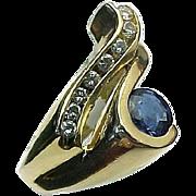 Vintage 14K Yellow Gold .50 Carat Blue Sapphire & .50 Carat Diamond Modernist Ring ~ By Hanchu