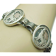 Silver Round Disc Bark At the Moon Link Bracelet