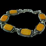 Vintage Hand Crafted, Sterling Silver, Inlaid Spiny Oyster Link Bracelet